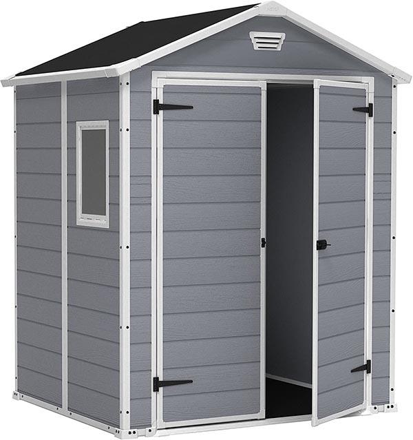 Keter - Caseta de jardín exterior Manor 6x5 DD, Color gris A