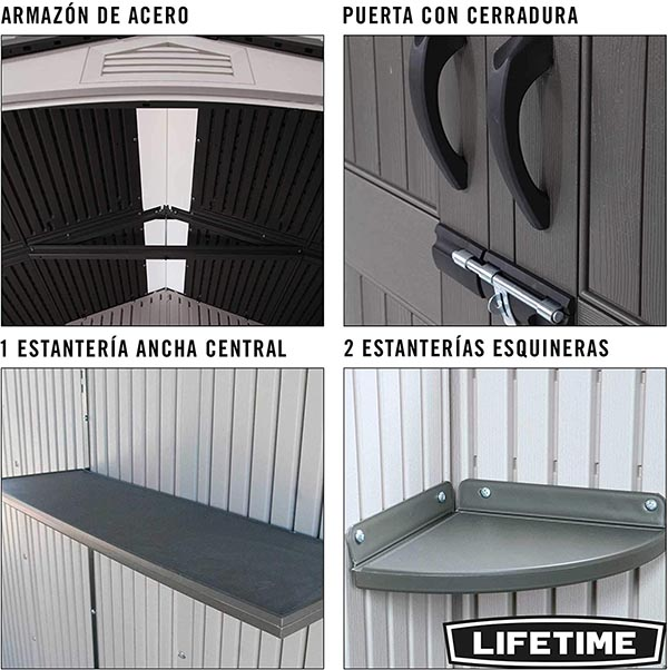 Ficha técnica de LIFETIME 60057 - Caseta jardín resistente 214x142x227 cm UV100