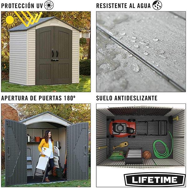 Características de LIFETIME 60057 - Caseta jardín resistente 214x142x227 cm UV100
