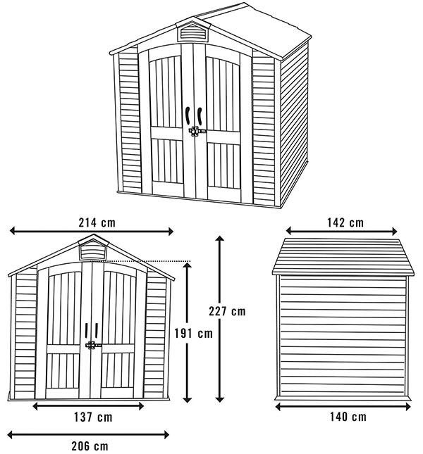 Montaje de LIFETIME 60057 - Caseta jardín resistente 214x142x227 cm UV100